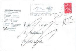 Lettre D'Aix-les-Bains Vers Gibraltar + Cachet Gibraltar Post Office Undelivered Insufficiently Addressed 31/10/2005 - Gibraltar
