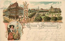 GRUSS AUS STRASSBURG - Carte 1899 Illustrée. - Strasbourg