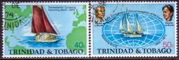 TRINIDAD & TOBAGO 1974 SG #454-55 Compl.set Used World Voyage By H. And K. La Borde - Trinidad & Tobago (1962-...)