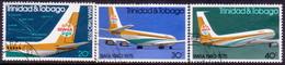 TRINIDAD & TOBAGO 1975 SG #461-63 Compl.set Used Br. West Indies Airways - Trinidad & Tobago (1962-...)
