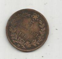 Monnaie, ITALIE , 5 Centesimi , 1861 M , Vittorio Emanuele II - 1861-1878 : Victor Emmanuel II
