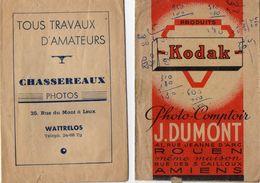 PHOTOGRAPHIE - Pochettes Photo Vides - KODAK - J. Dumont Rouen- Amiens - Chassereaux Photos - Wattrelos - Photography