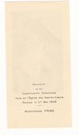 IMAGE PIEUSE ANNONCANT LA COMMUNION DE MARYVONNE PRIME Le 27 Mai 1948 à Rennes - Communion