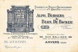 Antwerpen  Fabriek Piano Orgel Orgues Organ  Bursens De Backer  12.5 X 8.5 Cm - 1900 – 1949