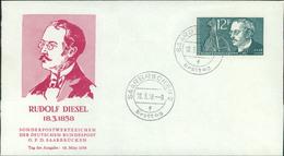 """FDC Saarland 1958, Rudolf Diesel, Michel 432, Stempel Buchstabe """" F """" (203) - FDC"""