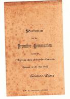 IMAGE PIEUSE ANNONCANT LA COMMUNION DE LEONTINE PRIME Le 31 Mai 1923 à Rennes - Communion