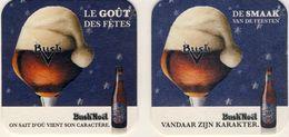 2 Sous-bock Bierviltje, Bierdeckel, Coaster, Carton, Sotto Bicchieri  BUSH BIERE DE NOËL Français Et Flamand - Bierdeckel