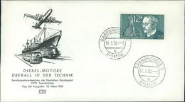 """FDC Saarland 1958, Rudolf Diesel, Michel 432, Stempel Buchstabe """" G """" (205) - FDC"""