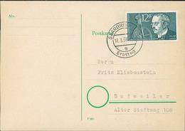 """Postkarte Saarland 1958, Rudolf Diesel, Michel 432, Stempel Buchstabe """" G """" (206) - FDC"""