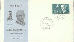 FDC Saarland 1958, Rudolf Diesel, Michel 432, Stempel Ohne Buchstabe (207) - FDC