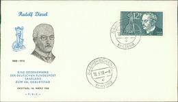 """FDC Saarland 1958, Rudolf Diesel, Michel 432, Stempel Buchstabe """" C """" (208) - FDC"""