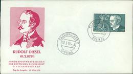 FDC Saarland 1958, Rudolf Diesel, Michel 432, Stempel Ohne Buchstabe (211) - FDC