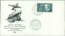 """FDC Saarland 1958, Rudolf Diesel, Michel 432, Stempel Buchstabe """" F """" (212) - FDC"""