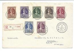 Env Recommandée De 1931 Avec Série Elisabeth (N· COB 326/332 )  - Oblitéré Agence Verviers 12 - 1er Mois émission - Belgio
