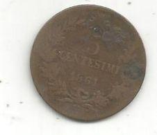 Monnaie, ITALIE , 5 Centesimi , 1861 N , Vittorio Emanuele II - 1861-1878 : Victor Emmanuel II