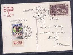 Carte Federale  Journee Du Timbre Lyon 1938 Pour Sauver La Race Vignette Tuberculose - Covers & Documents