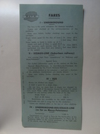 RATP. FARES. UNDERGROUND. SCEAUX-LINE (SUBURBAN RAILWAY). BUS. UNDERGROUND-BUS-SCEAUX-LINE - FRANCE, 1954. - Transportation Tickets