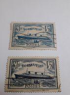 Timbres France  N° 299 + 299b, 1F50 Bleu + Turquoise, Paquebot Normandie, Bateau Oblitérés 1935 - France