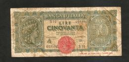 ITALIA - BANCA D' ITALIA - 50 Lire Italia Turrita (1944) LUOGOTENENZA - 50 Lire