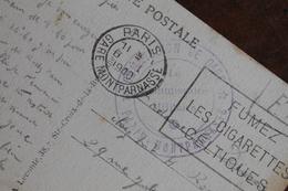 1940  -    COMMISSION  DE  GARE  MONTPARNASSE        SUR  CARTE  POSTALE  DE  PARIS - Marcofilie (Brieven)
