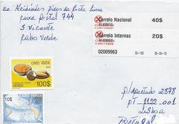 TIMBRES - STAMPS - LETTRE POUR PORTUGAL AVEC AUTOCOLLANTS À BARRE- CAP VERT / CAPE VERDE - TIMBRES DIVERS - Cape Verde