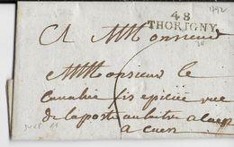 1792 - MANCHE - LETTRE De TORIGNY Avec MARQUE 34X8 (PREMIERS MOIS D'UTILISATION) => CAEN - IND 11 - 1701-1800: Précurseurs XVIII