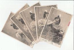 Lot De 5 CP Précurseur - Jeune Femme Effeuillant La Marguerite - Le T'aime !, Un Peu !..... - Femmes