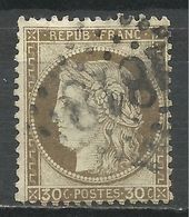 FRANCE , FRENCH , 30 Cts , Cérès , 1872 , N° YT  56 , Oblitération 1818 , Hyères - 1871-1875 Ceres