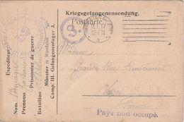 Carte Franchise Militaire / Flamme 1916 / Munster In Wetsfalen / Allemagne / Prisonnier / Kommandantur / Pays Non Occupé - 1914-18