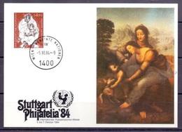 """UNO-Wien MK Zur Philatelia 1884: """"Anna Selbdritt"""" Von Leonardo Da Vinci Mit Hans Erni Marke Der UNO-Wien - Madonnas"""