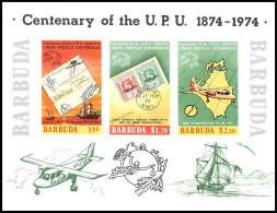583a Barbuba MNH ** Scott 169 A Michel 10 B Bloc Non Dentelé (imperforate) Centenary Of UPU Avion Plane - Antigua And Barbuda (1981-...)