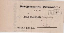 PREUSSEN  1868 POST INSINUATIONS DOKUMENT VON VETSCHAU - Preussen (Prussia)