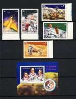 718c Fujeira MNH ** Mi N° 833 / 837 A + Bloc 89 A Espace (space) Apollo 15 Irwin Worden Scott - Space