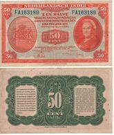 """NETHERLANDS INDIES 50 Cent """"Queen Wilhelmina"""" P110a Dated 2.3.1943 Vf - Dutch East Indies"""
