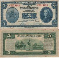"""NETHERLANDS INDIES 5  Gulden  """"Queen Wilhelmina"""" P113a Dated 2.3.1943 Vf - Dutch East Indies"""