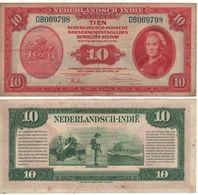 """NETHERLANDS INDIES 10  Gulden  """"Queen Wilhelmina"""" P114a Dated 2.3.1943 Vf - Dutch East Indies"""