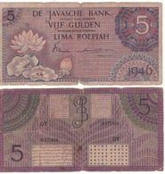 """NETHERLANDS INDIES 5 Gulden  """"Lotus Flower"""" P87  Dated   1946 - Dutch East Indies"""