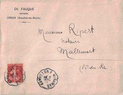 VAUCLUSE - CAVAILLON A MIRAMAS - CONVOYEUR LIGNE - LETTRE AVEC TEXTE D'ORGON POUR MALLEMORT- LE 6-1-1911 - Poststempel (Briefe)