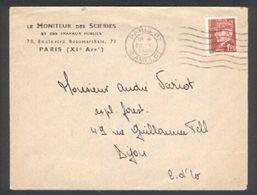Pétain 1,20 F Seul Sur Lettre Le Moniteur Des Scieries Et Des Travaux Publics - Marcophilie (Lettres)