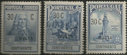 Portugal 1925 Postal Tax Due Stamps Pombal Issue Common Design Overprinted MULTA Set Of 3 MNH - Posta