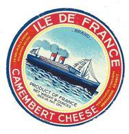 Ancienne ETIQUETTE De FROMAGE.. CAMEMBERT CHEESE.. ILE DE FRANCE...2 Scans - Fromage