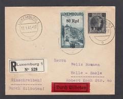 EINGESCHRIEBENER BRIEF NACH HALLE. - 1940-1944 Deutsche Besatzung