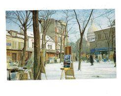 Grande Cpm - 75 - PARIS - La Place Du Tertre - Artiste Peintre Tableau Chevalet GREMILLET AU CLAIRON DES CHASSEURS Neige - Places, Squares