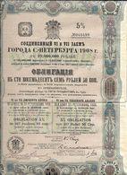 Obligations De Saint Petersbourg 5% De 187 1/2 Roubles  De 1908  - N°40498 - Shareholdings