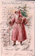 Fröhliche Weihnachten, Père Noël Et Sapin, Litho (22133) - Santa Claus