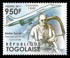 Togo André Turcat Pilot France Concorde Planes 1v Stamp MNH Michel:4257 - Ohne Zuordnung