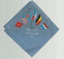 """Rare Mouchoir Imprimé Avec Drapeaux Des Armées Alliées Et Mention """"1918-1943 Solidarité F.I."""" (Front De L'Indépendance) - Documenti"""