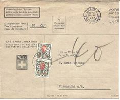 Lettre Officielle 1937, Direction Des Postes, Lettre Taxée Tombée Au Rebut, De Luzern Pour Küssnacht, 2 Timbres Taxe - Vrijstelling Van Portkosten
