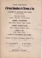 Catalogue De Vente Armes Blanches A Drouot 1926  (format 25 X 18 ) 16 Pages - Catalogs