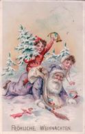 Fröhliche Weihnachten, Père Noël Et Enfants, Glissade, Litho Gaufrée (231210) - Santa Claus